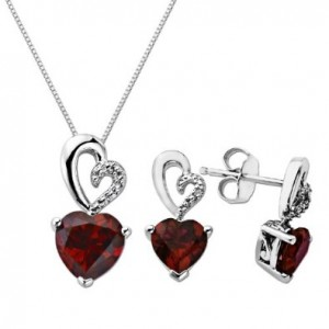 silver ruby earrings and necklace