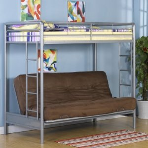 A futon bunk bed is a real space saver for small rooms.