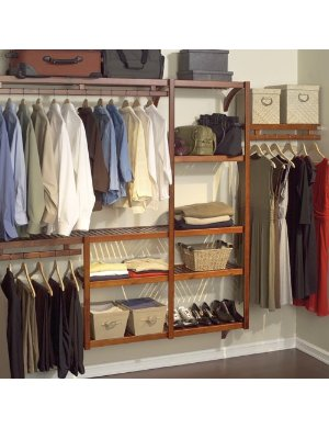 coated wire and mahogany walk in closet organizer system