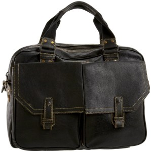 image of a men's leather satchel bag by Andrew Marc