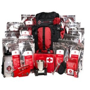 emergency preparedness kit with food and other supplies